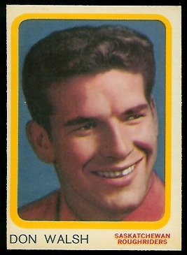 Don Walsh 1963 Topps CFL football card