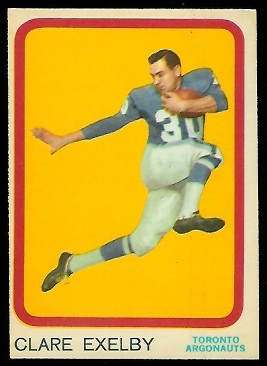 Clare Exelby 1963 Topps CFL football card