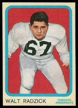 Walt Radzick 1963 Topps CFL football card