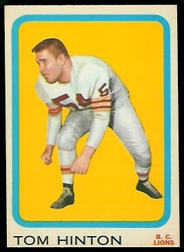 Tom Hinton 1963 Topps CFL football card