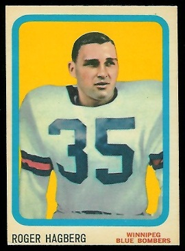 Roger Hagberg 1963 Topps CFL football card