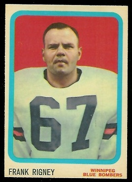 Frank Rigney 1963 Topps CFL football card