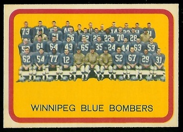 Winnipeg Blue Bombers Team 1963 Topps CFL football card