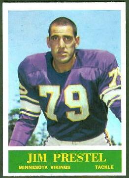 Jim Prestel 1964 Philadelphia football card