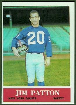 Jim Patton 1964 Philadelphia football card