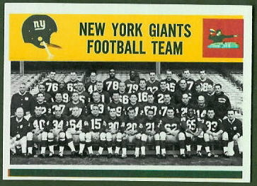 New York Giants Team 1964 Philadelphia football card