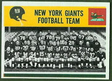 New York Giants Team 1964 Philadelphia football card
