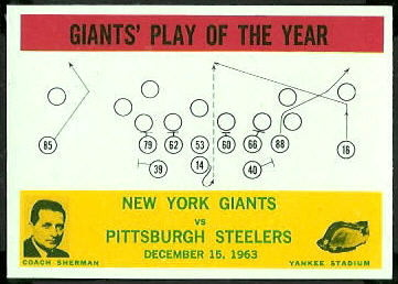 Giants Play of the Year 1964 Philadelphia football card