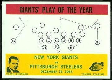 Giants Play of the Year 1964 Philadelphia football card