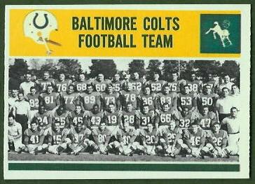 Baltimore Colts Team 1964 Philadelphia football card