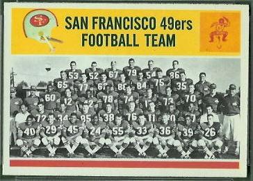 San Francisco 49ers Team 1964 Philadelphia football card