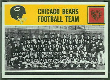 Chicago Bears Team 1964 Philadelphia football card