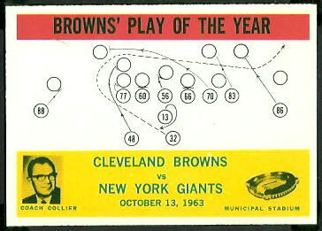 Browns Play of the Year 1964 Philadelphia football card