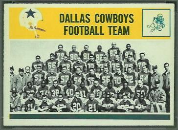 Dallas Cowboys Team 1964 Philadelphia football card