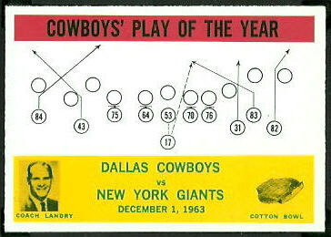 Cowboys Play of the Year 1964 Philadelphia football card
