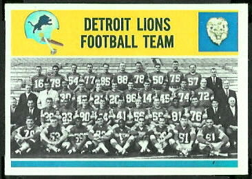 Detroit Lions Team 1964 Philadelphia football card