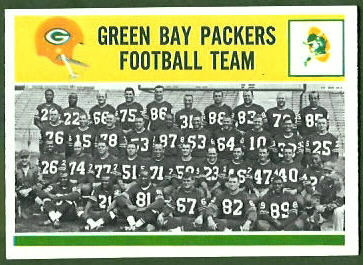 Green Bay Packers Team 1964 Philadelphia football card