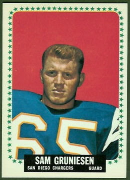 Sam Gruneisen 1964 Topps football card