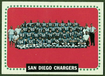 San Diego Chargers Team 1964 Topps football card