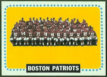 Boston Patriots Team 1964 Topps football card