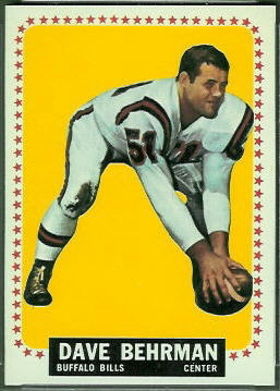 Dave Behrman 1964 Topps football card