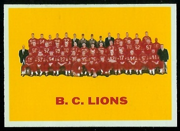 B.C. Lions Team 1964 Topps CFL football card