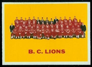 B.C. Lions Team 1964 Topps CFL football card