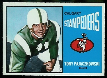 Tony Pajaczkowski 1964 Topps CFL football card