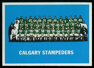 Calgary Stampeders Team 1964 Topps CFL football card