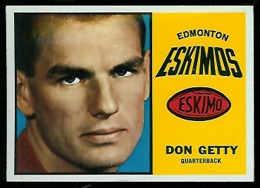 Don Getty 1964 Topps CFL football card