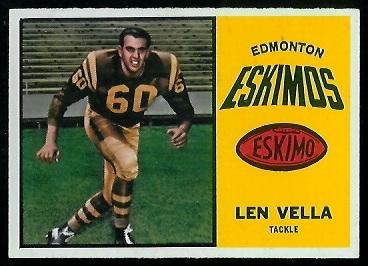 Len Vella 1964 Topps CFL football card