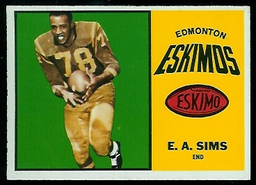 E.A. Sims 1964 Topps CFL football card