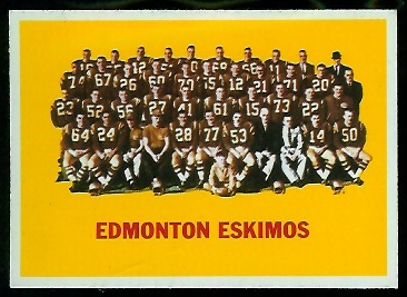 Edmonton Eskimos Team 1964 Topps CFL football card