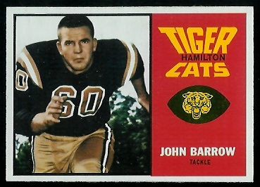 John Barrow 1964 Topps CFL football card