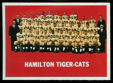 Hamilton Tiger-Cats Team 1964 Topps CFL football card