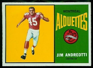 Jim Andreotti 1964 Topps CFL football card