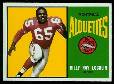 Billy Ray Locklin 1964 Topps CFL football card