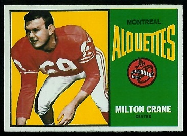 Milt Crain 1964 Topps CFL football card