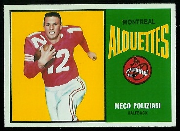 Meco Poliziani 1964 Topps CFL football card