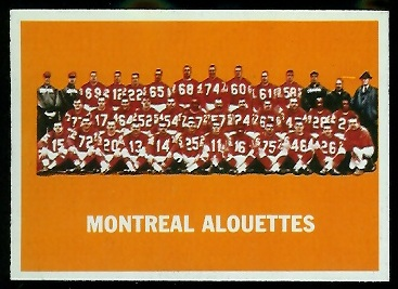 Montreal Alouettes Team 1964 Topps CFL football card