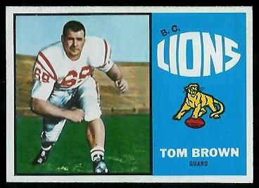 Tom Brown 1964 Topps CFL football card