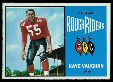 Kaye Vaughan 1964 Topps CFL football card