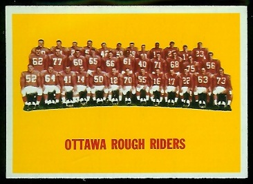 Ottawa Rough Riders Team 1964 Topps CFL football card