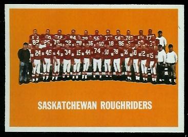 Saskatchewan Roughriders Team 1964 Topps CFL football card