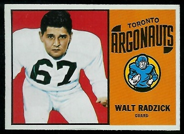 Walt Radzick 1964 Topps CFL football card