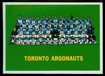 Toronto Argonauts Team 1964 Topps CFL football card