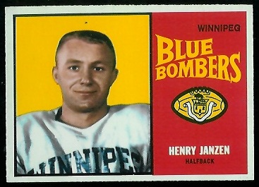 Henry Janzen 1964 Topps CFL football card