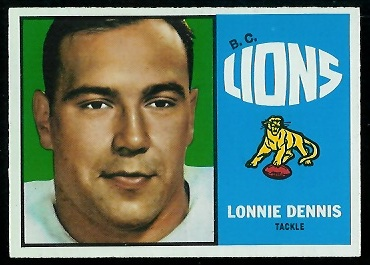 Lonnie Dennis 1964 Topps CFL football card