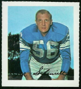 Joe Schmidt 1964 Wheaties Stamps football card
