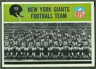 New York Giants Team 1965 Philadelphia football card